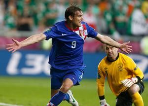 Croatia's Nikica Jelavic celebrates after scoring a goal