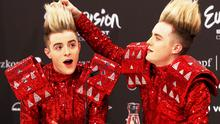 Jedward during a press confrence after they qualifed for the Final in Dusseldorf at the Eurovision Song Contest