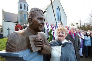 Hannah Sheehy, the sister of Fr Jerry Roche who was murdered in Kenya two years ago, at the unveiling ceremony of his memorial bust outside St Bartholomew's Church in Athea, Co Limerick, yesterday