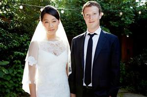 Mark Zuckerberg and Priscilla Chan are seen in this photograph taken on their wedding day. Photo: Reuters