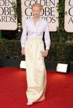 BEVERLY HILLS, CA - JANUARY 16:  Actress Tilda Swinton arrives at the 68th Annual Golden Globe Awards held at The Beverly Hilton hotel on January 16, 2011 in Beverly Hills, California.  (Photo by Jason Merritt/Getty Images)