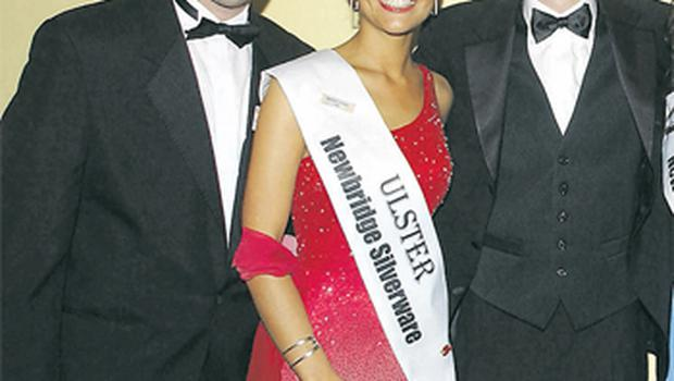 Michaela Harte at the Rose of Tralee in 2004 with escort Barry Mollaghan (left) and host Ryan Tubridy