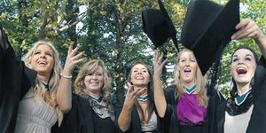 Deirdre Donohue, Miriam McLaughlin, Michelle Downes, Aisling O'Sullivan and Deirdre Twomey celebrate graduating from NUI Galway