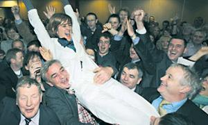 The TD celebrates in Mayo after being elected