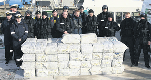 Armed naval and gardai personnel pictured in 2008 with the €400m worth of cocaine seized from a yacht off the coast of Cork.
