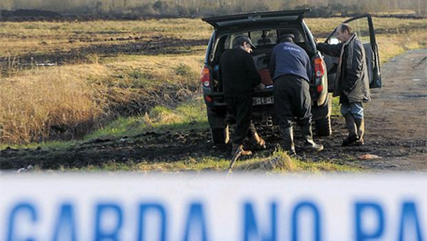 Gardai take part in the search for Marie Greene near Athlone, Co Westmeath, yesterday