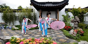 Chinese dancers at the Ire-Su garden. Photo: Steve Humphreys