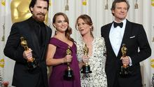 Best Supporter Actor winner Christian Bale, Best Actress winner Natalie Portman, Best Supporting Actress winner Melissa Leo  and Best Actor winner Colin Firth pose together. Photo: Getty Images