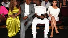 Beyonce Knowles, husband Jay-Z sit beside Kanye West and girlfriend Kim Kardashian at the BET Awards in LA,  July 1, 2012.