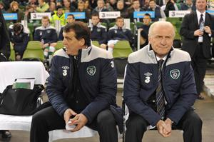 Republic of Ireland manager Giovanni Trapattoni (right) and Assistant manager Marco Tardelli during the game last night. Photo: PA