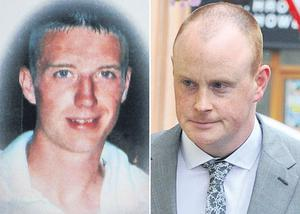 Gary Tully (left) died following the crash in August, 2008. Right: Garda Trevor Owens outside court in Trim