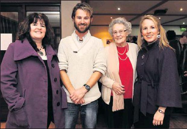 Patricia Langton, Adam Burke, Vera Langton and Sarah McCann in Skerries Cricket Club for the special homecoming celebration for Adam, who rowed across the Atlantic in a world record time.