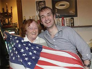 Henry Healy and Nualla Hayes, who also claims to be distant relative of the President, celebrate at an election night party in honour of Obama in Ollie Hayes' pub in Moneygall in November 2008