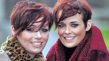 Shauna (left) and Aoibhne McElhinney from Cork at the Leopardstown races yesterday
