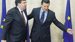 Taoiseach Brian Cowen with European Commission president Jose Manuel Barroso. The Taoiseach engaged in a process of consultation with our EU partners in a bid to address Irish concerns over the Lisbon Treaty. Photo: YVES HERMAN