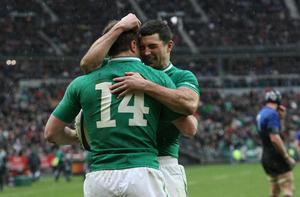 Ireland's Tommy Bowe and Rob Kearney celebrate his try