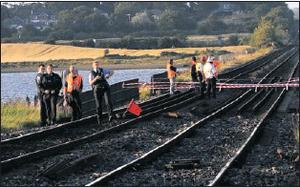 Gardaí and Iarnrod Eireann workers survey the damage on Friday afternoon following the bridge collapse.