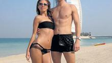 JET SET ROMANCE: Alexander 'Papa Smurf' Smurfit, son of Dr Michael Smurfit and heir to the Smurfit fortune, with his Russian TV-star girlfriend Victoria Bonya in Dubai