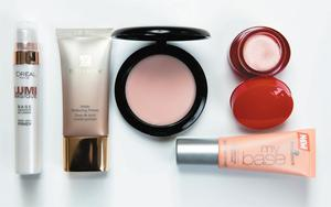 Pictured, from left: L'Oreal Lumi Magique Pure Light Primer; Estee Lauder Matte Perfecting Primer; Mac Prep + Prime Skin Smoother; Clarins Instant Smooth Perfecting Touch; Essence My Base Skin Perfection Make-Up Base