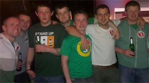 James Noaln, centre, pictured with friends on the first day of their trip to Poland