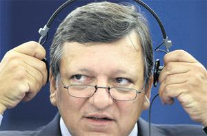 Commission president Jose Manuel Barroso at the economic crisis debate at the Parliament in Strasbourg yesterday