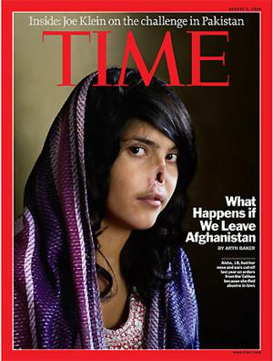 Time magazine cover from August 2008 showing Aisha, 19, who was mutilated by her husband, a Taliban fighter. Photo: Time magazine