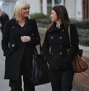 Sarah Murray (left) and Sarah Rooney, who worked for ICS Building Society, at the Employment Appeals Tribunal in Dublin yesterday. Photo: Damien Eagers