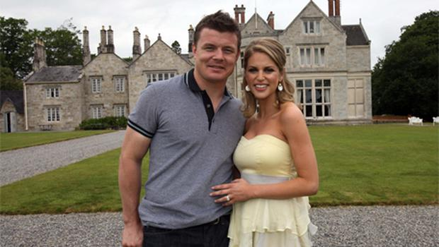 Brian O' Driscoll and Amy Huberman relax in the grounds of Lough Rynn Castle Hotel Mohill Co. Leitrim Ireland, the day after their wedding.  Photo: PA