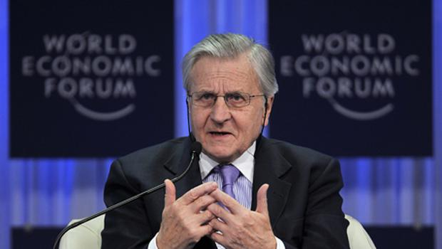 ECB president Jean-Claude Trichet gestures during the 'Europe: Back to the Drawing Board?' session at the World Economic Forum. Photo: Getty Images