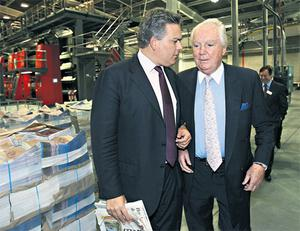 Gavin O'Reilly with his father Sir Anthony O'Reilly at the opening of a plant in Newry.