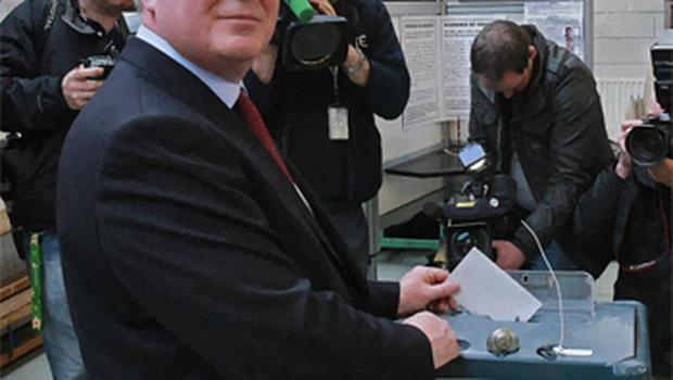 Labour Leader Eamon Gilmore as he casts his vote at Scoil Mhuire Fairview, Dublin. Photo: PA