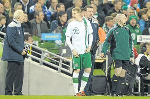 Giovanni Trapattoni sends on James McClean for his eagerlyawaited Irish debut last night
