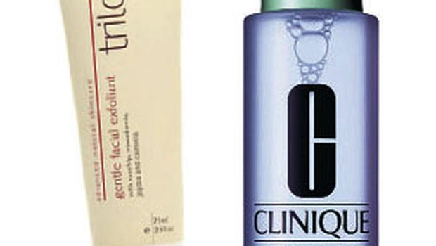 Trilogy Gentle Facial Exfoliant, €24.95 and Clinique Reformulated Clarifying Lotion, €23