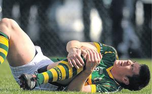 Kerry's David Moran shows the pain of a cruciate ligament injury which he suffered a year ago