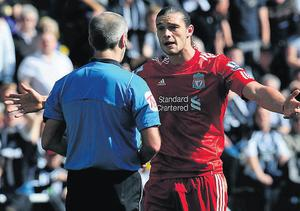 Andy Carroll shows his frustration