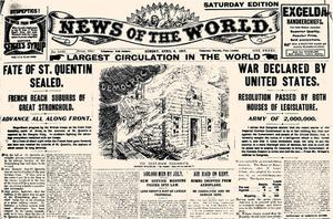 A 'News of the World' front page during World War I from April 1917