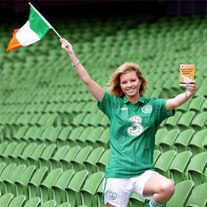 Model Heather Mulligan at the launch of the Euro 2012 survival guide at the Aviva Stadium yesterday