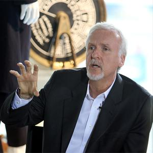 Titanic director James Cameron speaks at the Titanic Belfast Museum to unveil the opening of a special exhibition in honour of the Academy Award winning film. Photo: PA