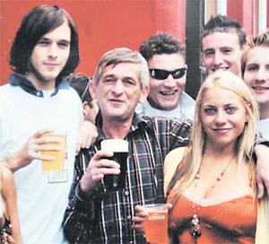 James Cahillane with his son Gary, left, and friends