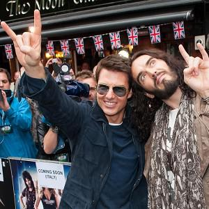 Tom Cruise and Russell Brand attend the European premiere of Rock Of Ages