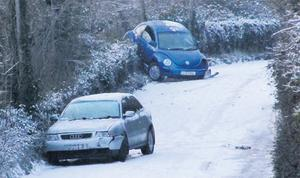 Two cars abandoned at Tinkers Hill on the Strawberry Beds near Lucan, Dublin