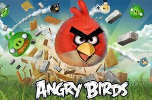 A poster for the game Angry Birds, the popular iPhone app