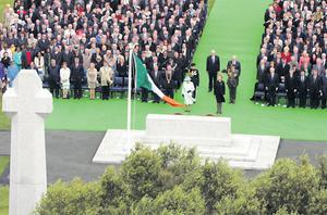 The President and Queen Elizabeth pay tribute to Irish soldiers killed in WW1 and WW2 at the War Memorial Gardens in Islandbridge