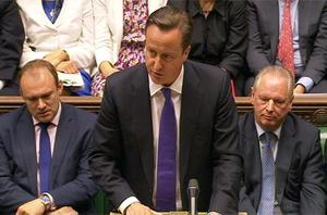 British prime minister David Cameron speaks during Prime Minister's Questions in the House of Commons