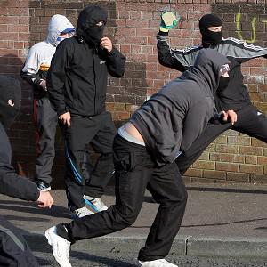Nationalist youths clash with police in Ardoyne in north Belfast