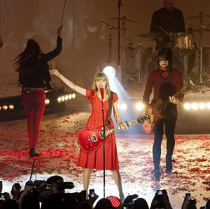 Taylor Swift performs at Westfield London shopping centre where she turned on the Christmas lights