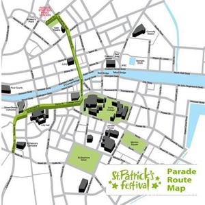 St Patrick's Day parade map for Dublin