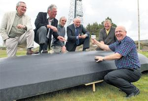 Sean Ban Breathnach (right) at the Radio na Gaeltachta in Casla, Connemara, yesterday, with five of the station's original broadcasters.
