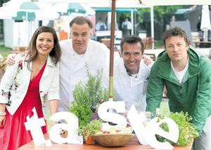 Jamie Oliver (far right) at the launch of Taste of Dublin with (from left) Catherine Fulvio, Derry Clarke and Kevin Dundon in the Iveagh Gardens in Dublin, yesterday