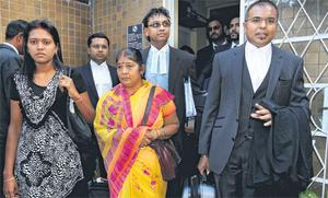 The wife of Avinash Treebhoowoon, his mother Mala and barristers.